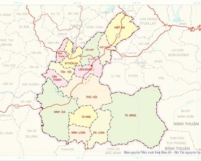 Bản đồ huyện Đức Trọng khổ lớn phóng to chi tiết