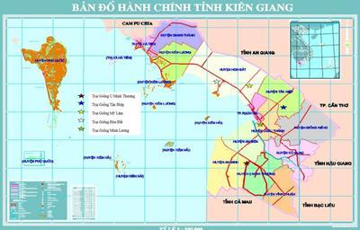 Bản đồ hành chính tỉnh Kiên Giang khổ lớn năm 2021