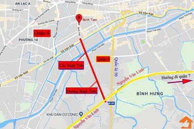 Tiến độ xây dựng cầu Bình Tiên qua kênh Đôi tại TP HCM