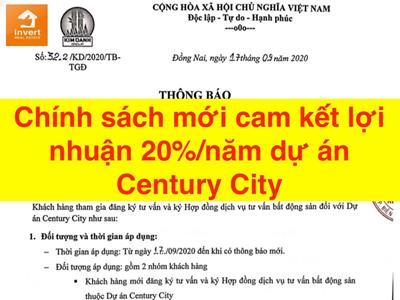 Chính sách mới cam kết lợi nhuận 20%/năm dự án Century City