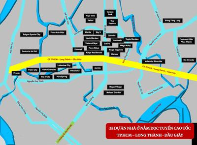 35 dự án nhà nằm dọc tuyến cao tốc TP.HCM - Long Thành - Dầu Giây