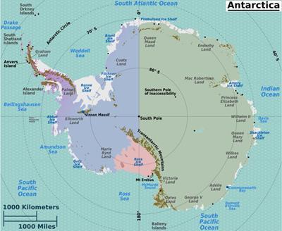 Bản đồ du lịch Châu Nam Cực năm 2020