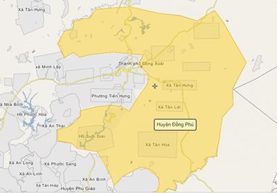 Thông tin quy hoạch & bản đồ huyện Đồng Phú, tỉnh Bình Phước