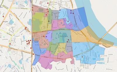 Bản đồ Hành chính Quận Hai Bà Trưng khổ lớn năm 2021