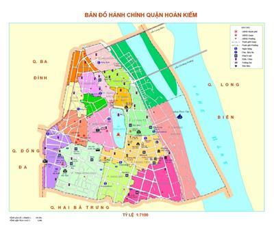 Bản đồ Hành chính Quận Hoàn Kiếm khổ lớn năm 2021