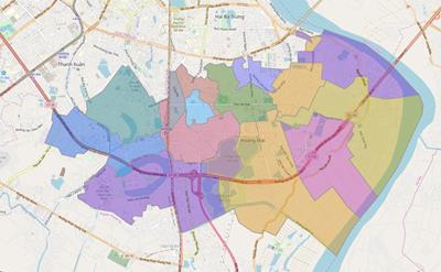 Bản đồ Hành chính Quận Hoàng Mai khổ lớn năm 2021