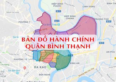 Bản đồ Hành chính Quận Bình Thạnh tại TPHCM khổ lớn năm 2021