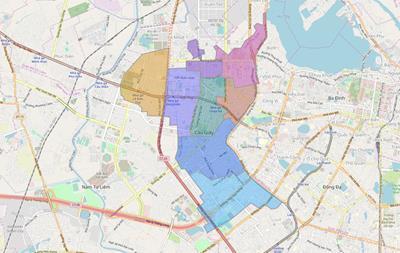 Bản đồ Hành chính Quận Cầu Giấy khổ lớn năm 2021