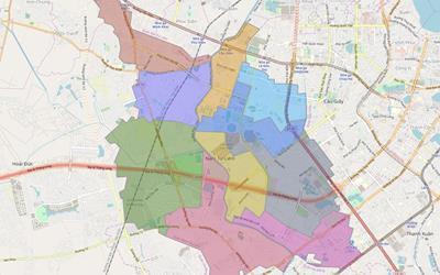 Bản đồ Hành chính Quận Nam Từ Liêm khổ lớn năm 2021