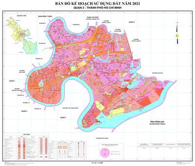 Bản đồ quy hoạch sử dụng đất Quận 2 năm 2021