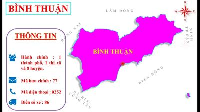 Bản đồ hành chính tỉnh Bình Thuận khổ lớn năm 2021