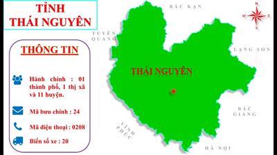 Bản đồ hành chính tỉnh Thái Nguyên khổ lớn năm 2021