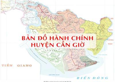 Bản đồ Hành chính Huyện Cần Giờ tại TPHCM khổ lớn năm 2021