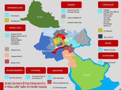 """""""Điểm mặt"""" 33 dự án nhà ở tại TP HCM của 9 chủ đầu tư đến từ nước ngoài"""