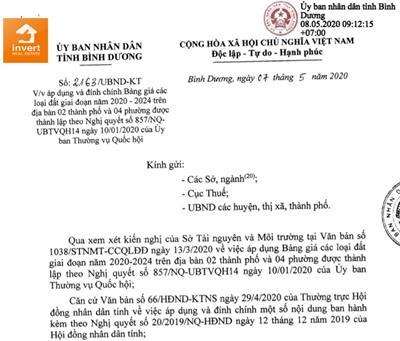 Đính chính giá đất một số tuyến đường trên địa bàn thị xã Tân Uyên