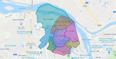 Bản đồ Hành chính Quận Tây Hồ khổ lớn năm 2021