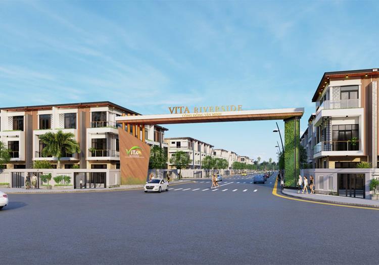 Cổng dự án đất nền Vita Riverside Tân Uyên Bình Dương