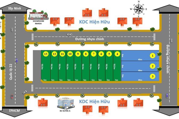 Mặt bằng phân lô dự án đất nền DXV Land 01 Gò Dầu Tây Ninh