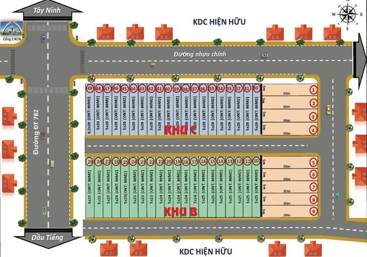 Mặt bằng phân lô dự án DXV Land 02 Bầu Đồn Gò Dầu Tây Ninh