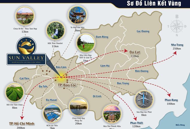 Vị trí kết nối vùng của dự án Bảo Lộc Sun Valley Lâm Đồng