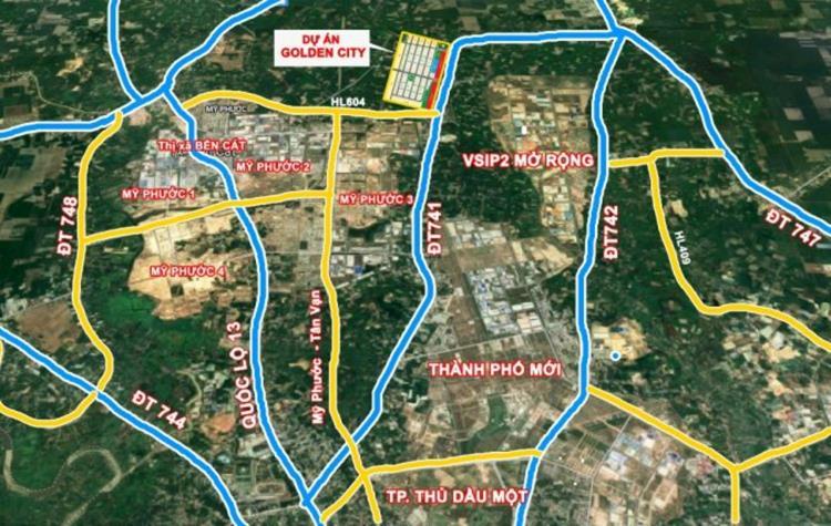 Vị trí dự án Khu đô thị Phương Toàn Phát Bến Cát