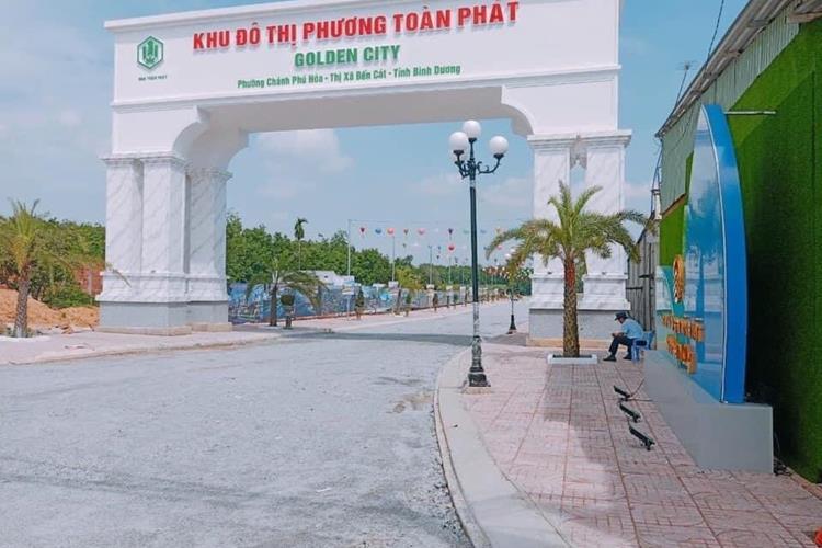 Cổng chính dự án Phương Toàn Phát - Golden City đã hoàn thiện khang trang