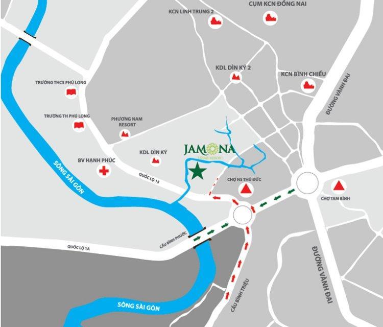 Vị trí dự án biệt thự Jamona Home Resort Thủ Đức
