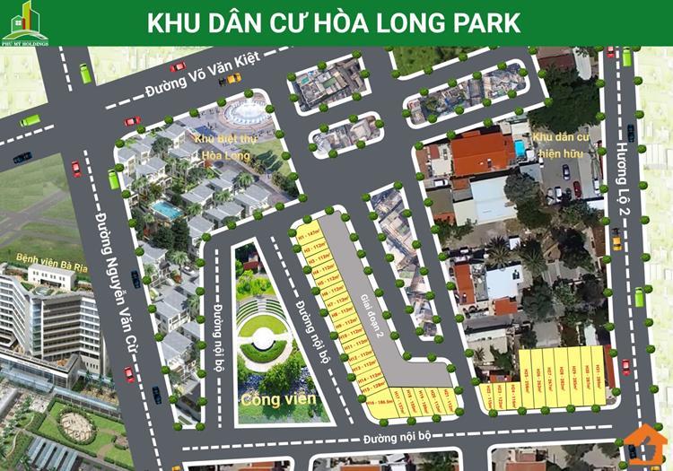 Mặt bằng phân lô Khu dân cư Hoà Long Park Bà Rịa - Vũng Tàu