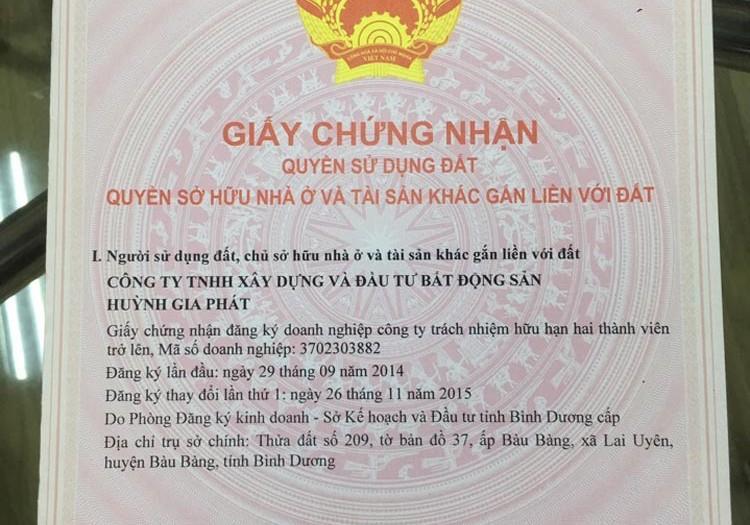 Sổ đỏ từng nền tại dự án Huỳnh Gia Residence Bàu Bàng
