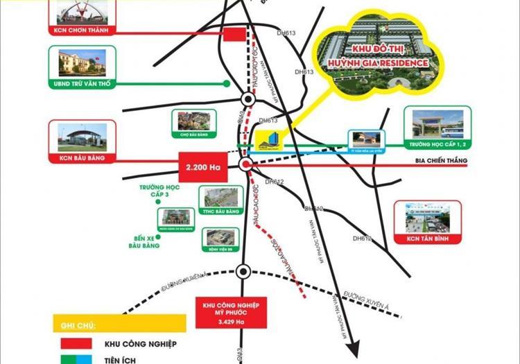 Vị trí dự án Huỳnh Gia Residence Bàu Bàng