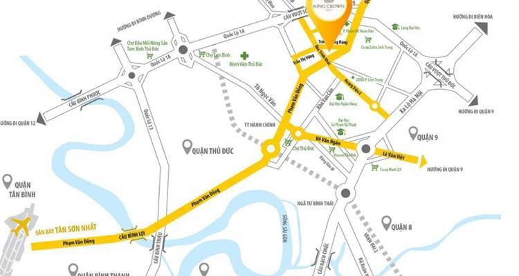 Vị trí của khu căn hộKing Crown City Thủ Đức
