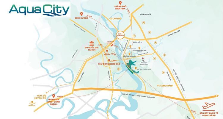 Vị trí khu đô thị sinh thái Aqua City Đồng Nai