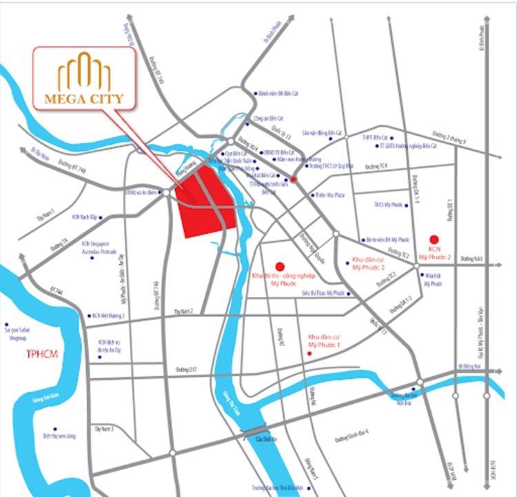 Vị trí khu đô thị Mega City Bến Cát