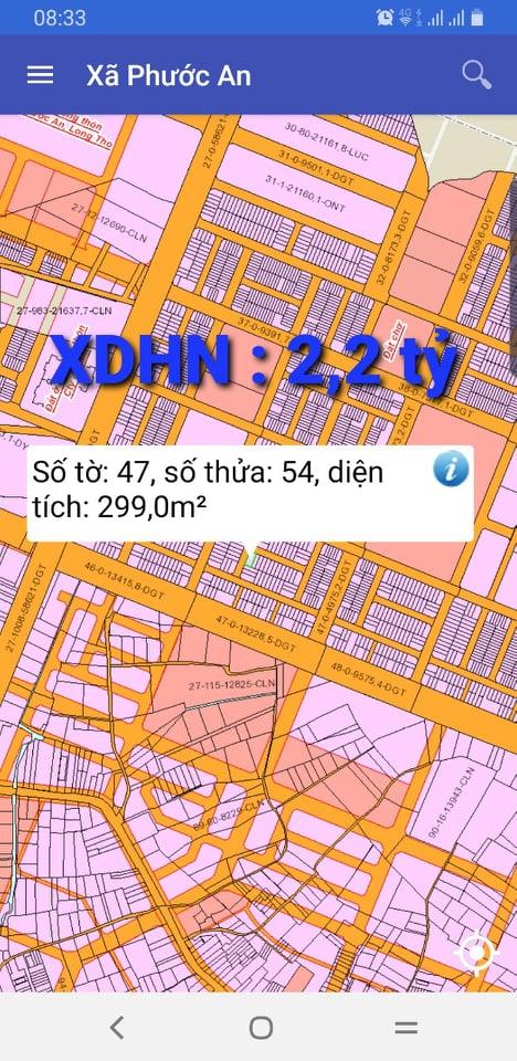 Bán đất XDHN Phước An số 47/54 giá 2.2 tỷ