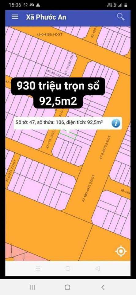 Đất XDHN Phước An số 47/106 giá siêu đẹp 930 triệu
