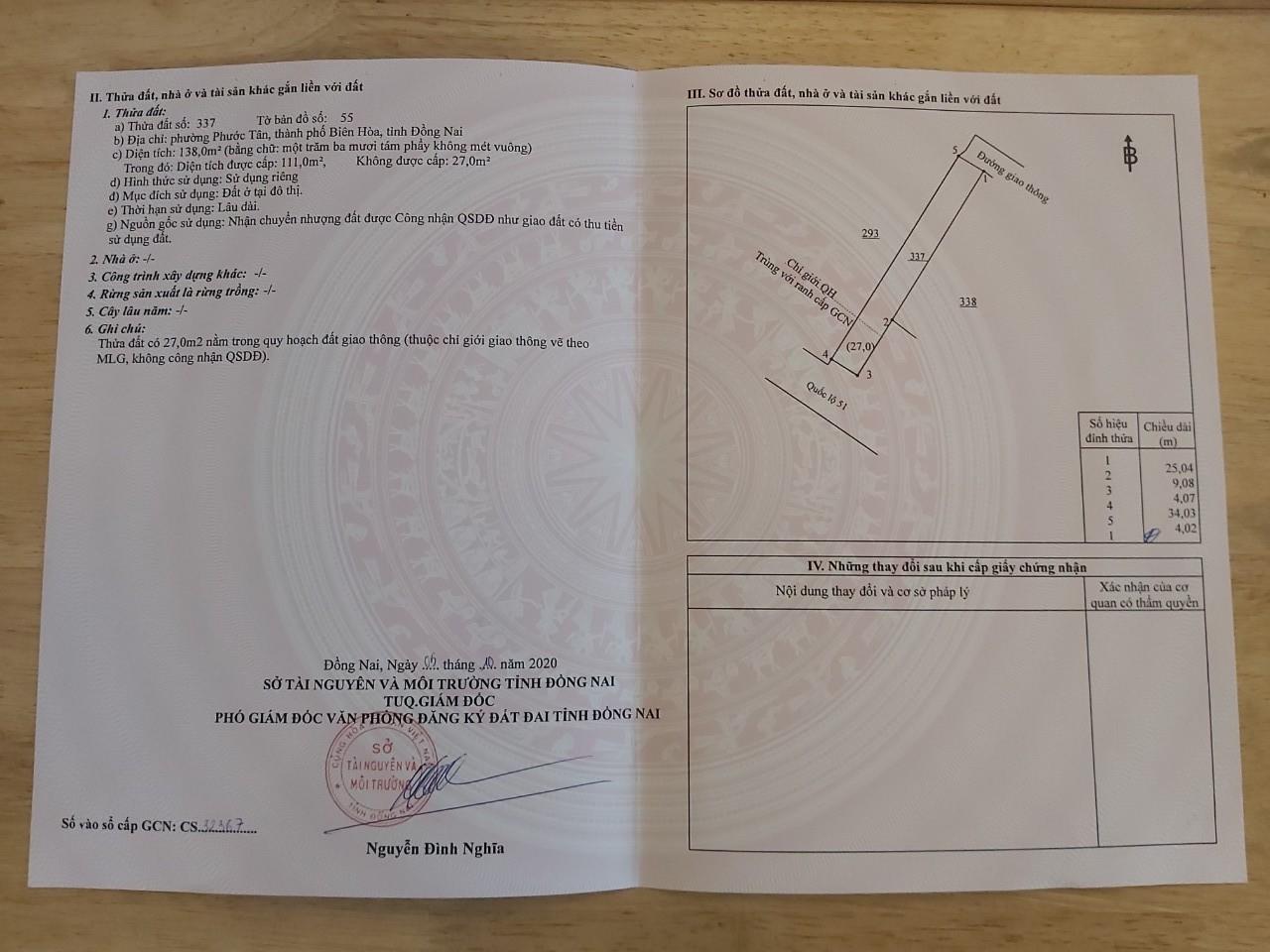 Bán nhà mặt tiền Quốc Lộ 51 dt 138m2 Phường Phước Tân, TP Biên Hoà giá 5.2 tỷ