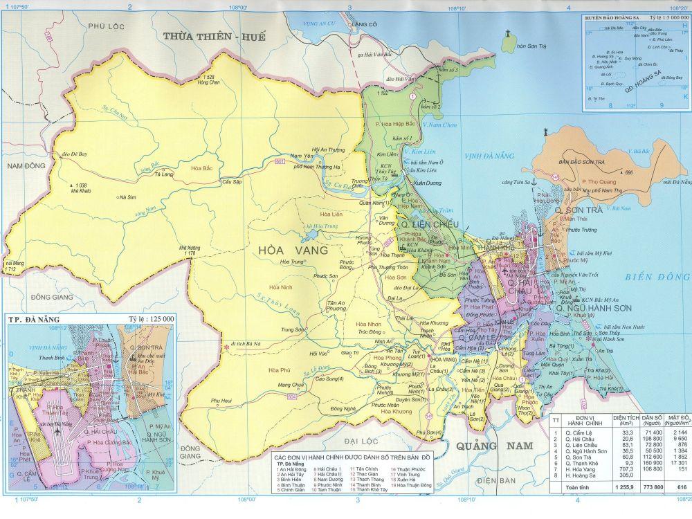 Bản đồ hành chính Đà Nẵng các Quận, Huyện cập nhật năm 2020