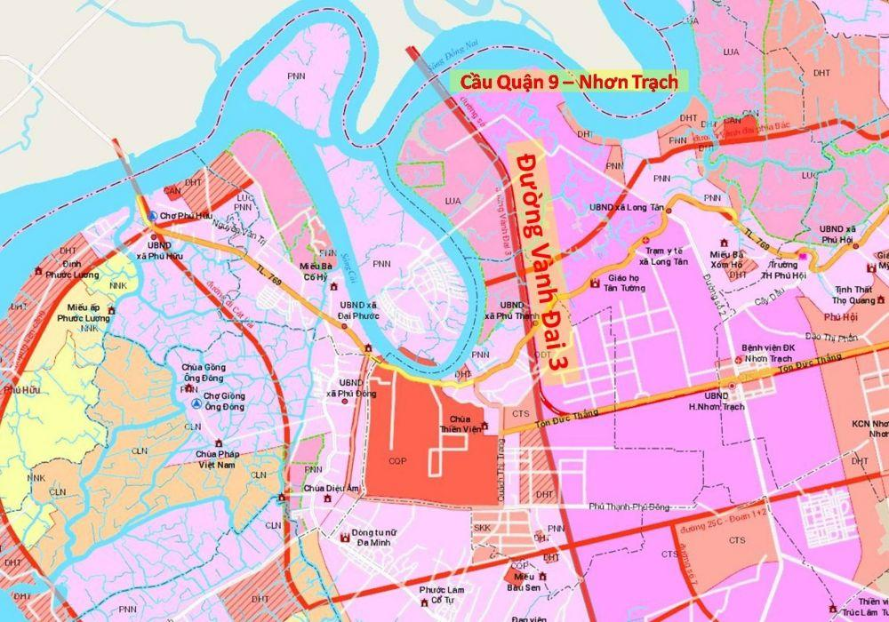 Bản đồ Vành đai 3 đoạn Nhơn Trạch - Tân Vạn