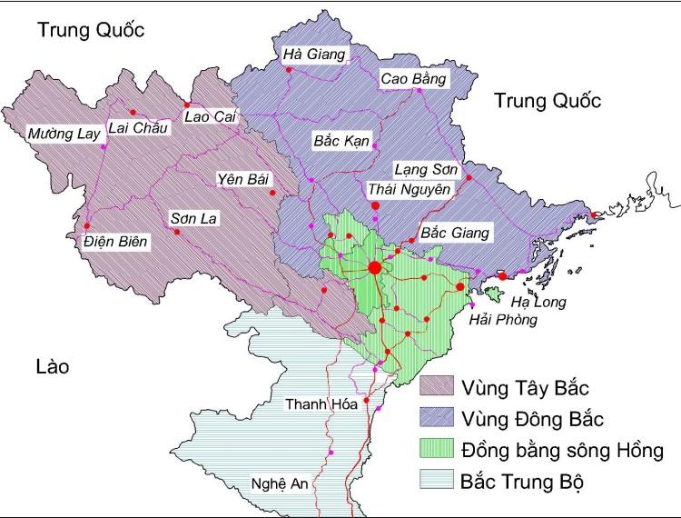 Bản đồ Miền Bắc Khổ Lớn Phong To Chi Tiết