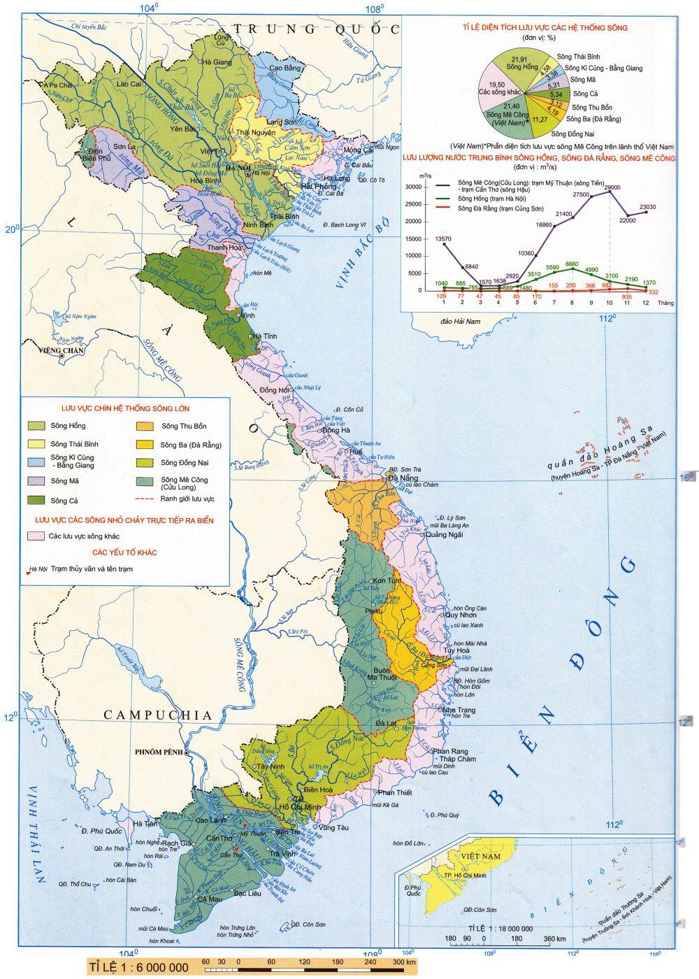 Bản đồ thể hiện Sông Ngòi ở Việt Nam