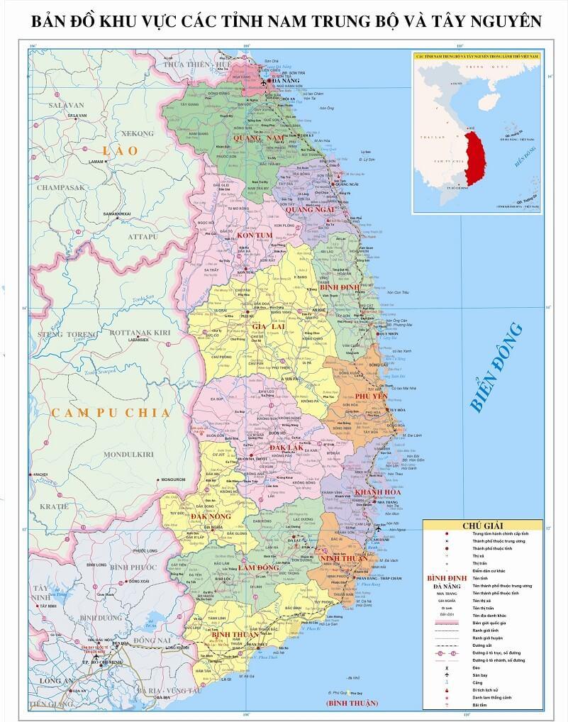 Bản đồ Nam Trung Bộ và Tây Nguyên