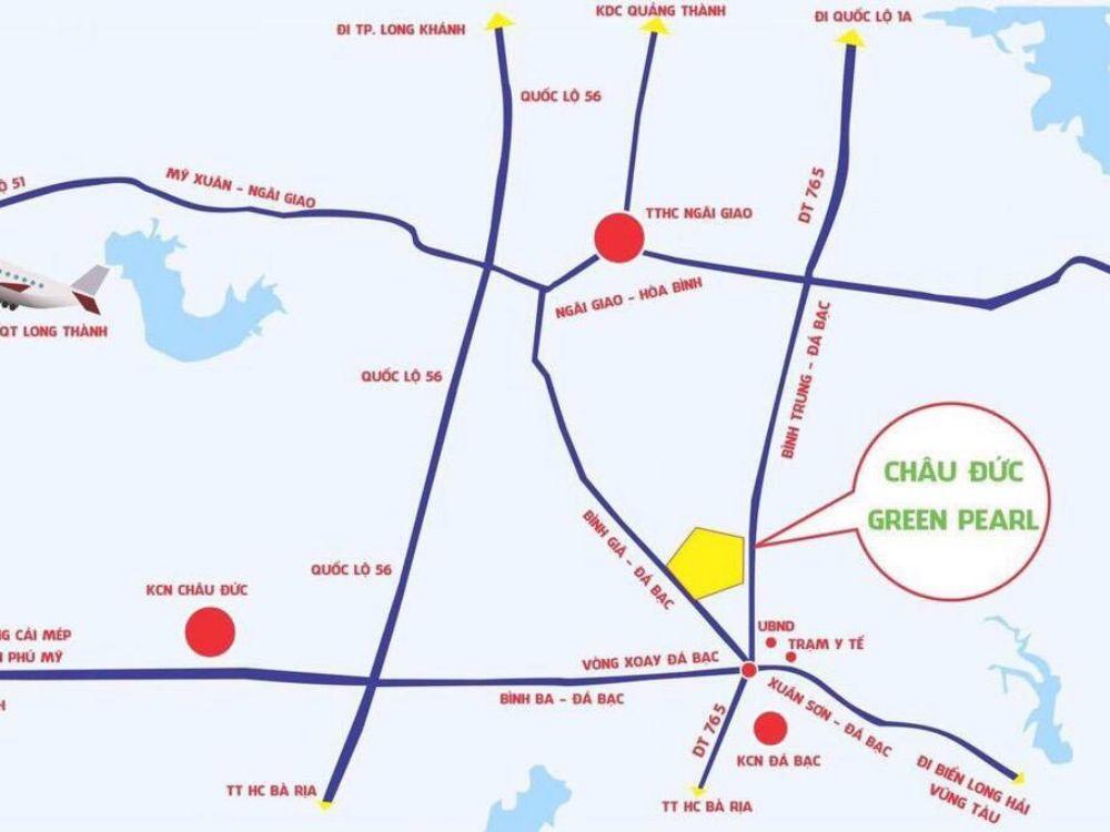 Vị trí dự án đất nền Châu Đức Green Pearl Bà Rịa