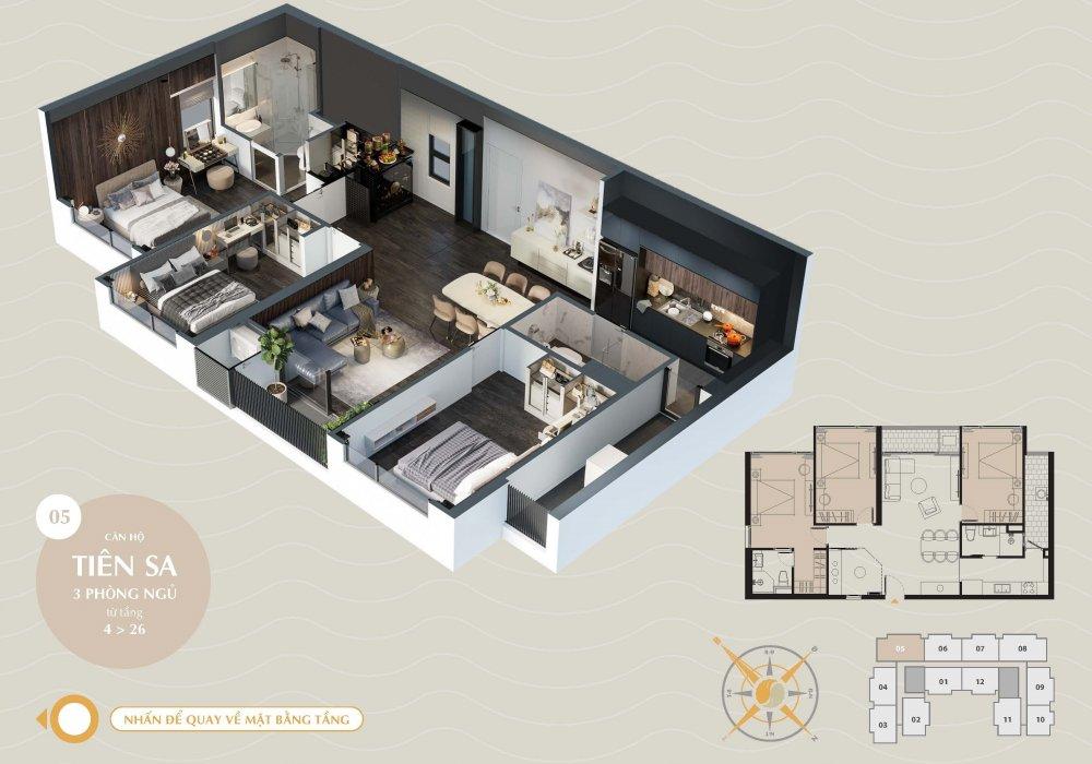 Thiết kế căn hộ Tiên Sa 3 Phòng Ngủ tại The Sang Residence