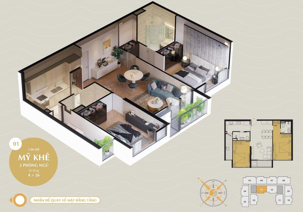 Thiết kế căn hộ Mỹ Khê 2 Phòng Ngủ tại The Sang Residence