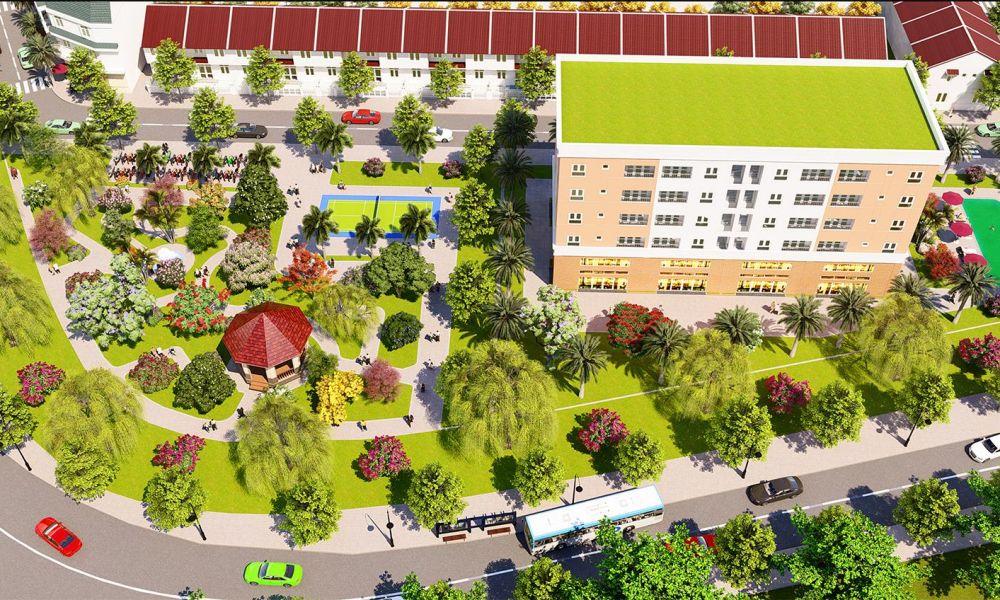 Phối cảnh công viên và chung cư thương mại của dự án đất nền The Eden City Bình Dương