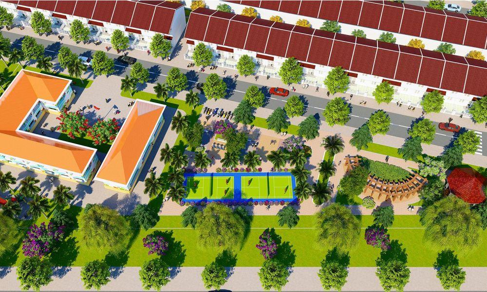 Phối cảnh 2 trường học và công viên dự án đất nền The Eden City Bình Dương