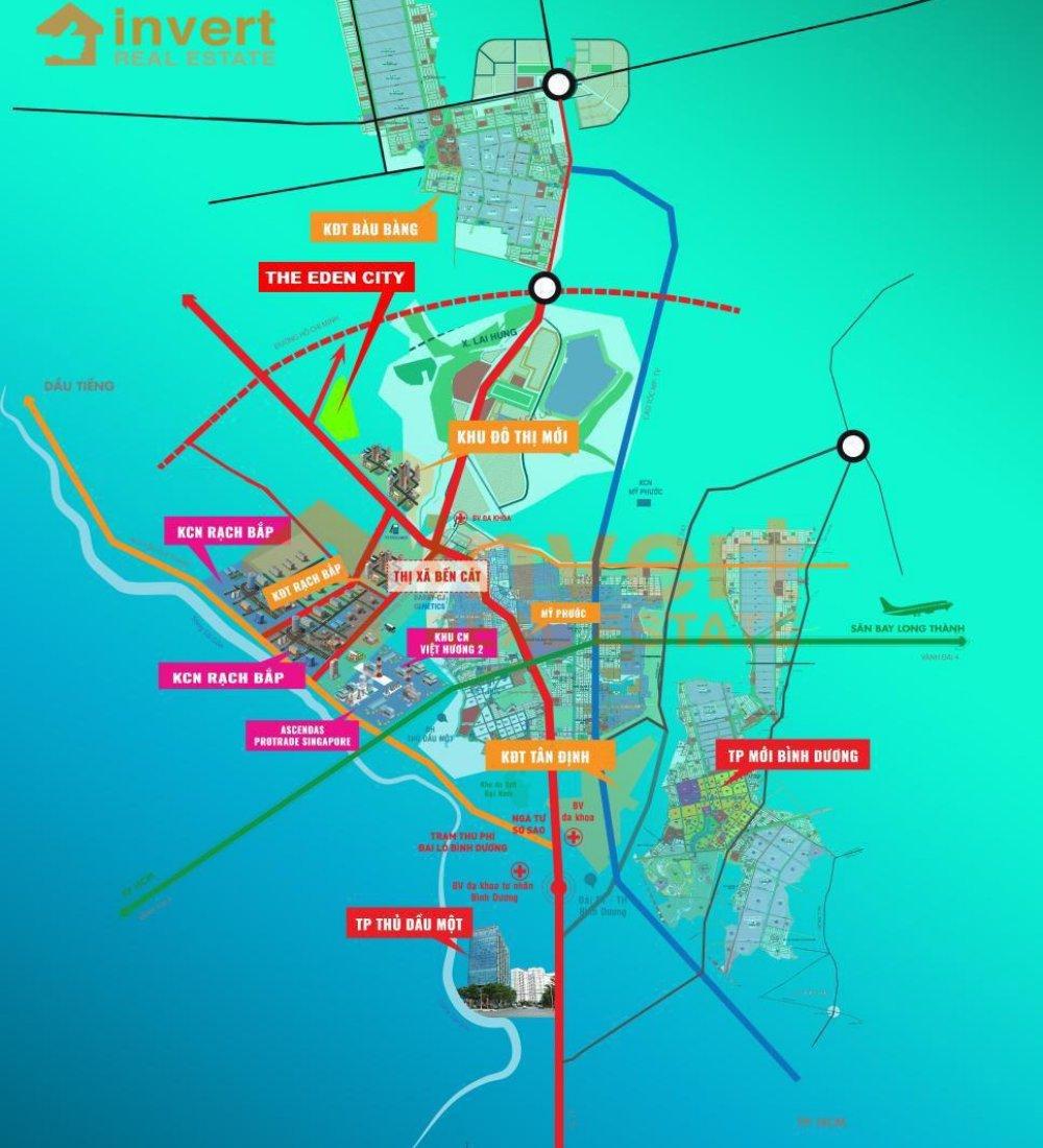 Vị trí dự án đất nền The Eden City Bàu Bàng là trọng điểm các khu công nghiệp Bình Dương