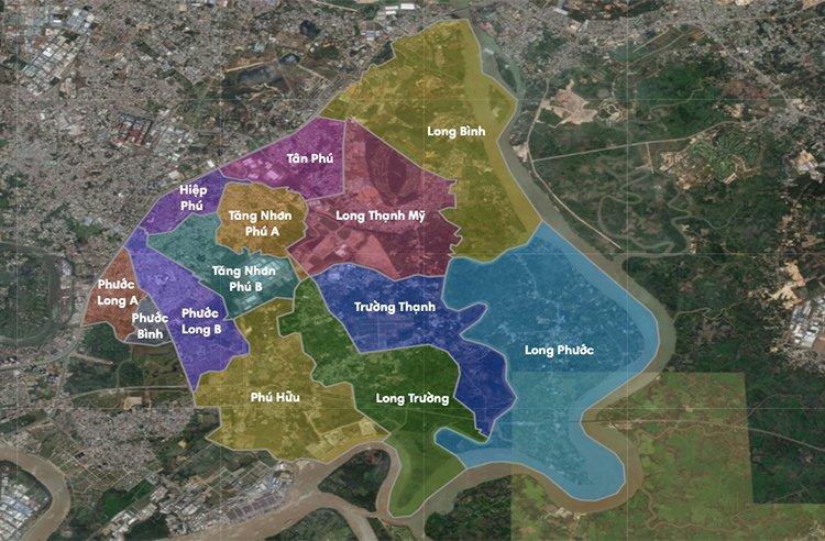 Bản đồ vị trí các phường tại Quận 9 trước đây
