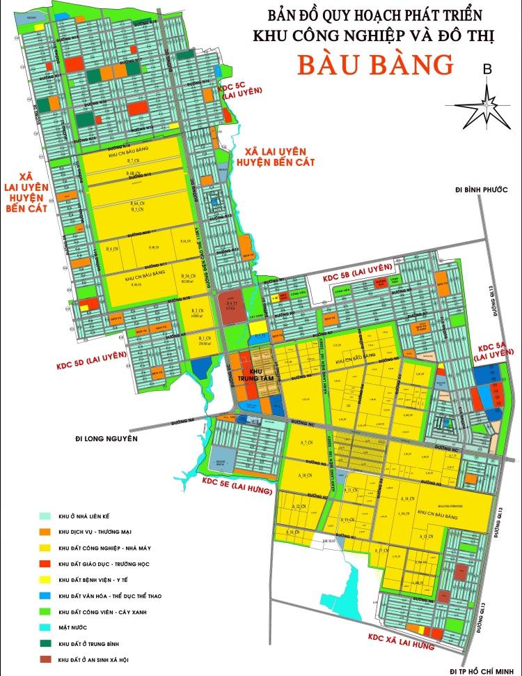 Bản đồ quy hoạch phát triển khu công nghệ và đô thị Bàu Bàng khổ lớn