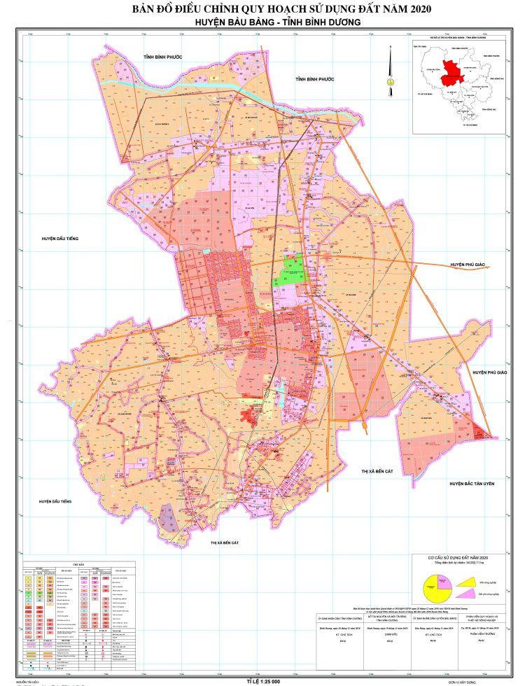 Bản đồ điều chỉnh quy hoạch sử dụng đất tại Huyện Bàu Bàng khổ lớn